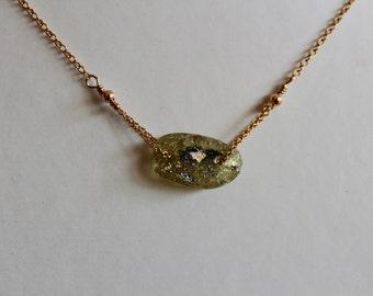 Gold chain pendant, roman glass necklace, green pendant, glass pendant, gold pendant, gold necklace, gold chain necklace, 14k gold chain