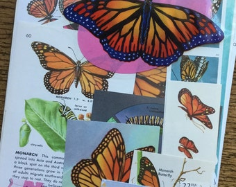 Monarch Butterflies Vintage Butterfly Collage, Scrapbook and Planner Kit Number 1941