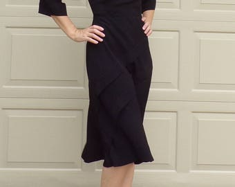 40's BLACK CREPE 1940's DRESS 2 4