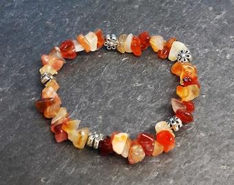 Bracelet with carnelian + metal beads