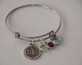 Mom bracelet, mom birthstone jewelry, mom birthstone gift, mom and kids gift, special mom, gift for mother, mom word collage