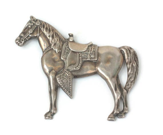 Sterling Western Horse with Saddle Brooch Detailed Repousse Pin Vintage