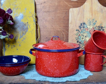 Vintage Red and Navy Blue Speckled Enamel Mugs Bowls and Pot with Lid Camping Enamelware Set