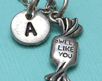 Candy charm necklace, personalized necklace, quote necklace, initial necklace, food necklace, couples necklace, daughter necklace, friend