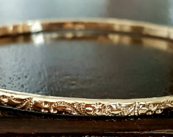 Vintage Style Floral Embossed Gold Bangle Bracelet, Handmade, Mother Day Gift