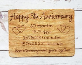 Personalised 5th Anniversary Card - Engraved Oak Wood Anniversary Gift - Fifth Wedding Anniversary - Wooden Gift - Gift for Husband Wife