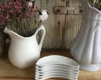 Set of 6 White Bone Dishes ~  Haviland ~ Crescent Bone Dishes with Scalloped Edge ~ Trinket Dish ~ Vanity Dish ~ Soap Dish