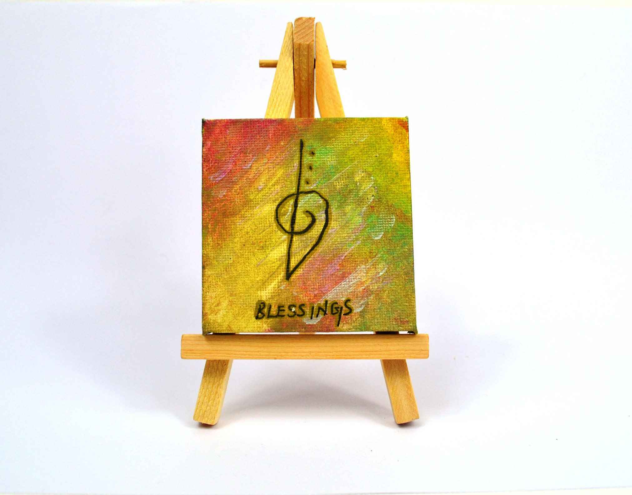 Mini canvas art blessings zibu symbolreiki art hand painted