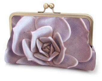 Clutch bag, silk purse, desert plant, bridesmaid gift, LILAC SUCCULENT