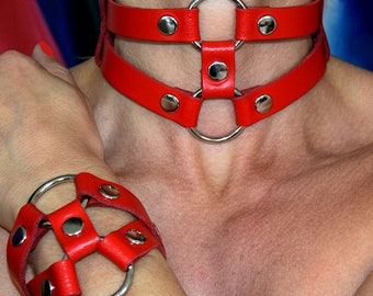 Sexy TERGINUM jewelry collar necklace jewelry collar neck cuff collar corset ring necklace + bracelet leather bracelet bdsm Fetish Gothic punk
