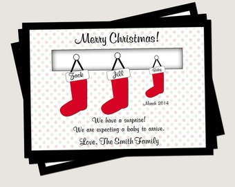 Christmas Card Pregnancy Announcement - Family Stockings (You Print)