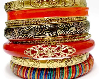 Red Boho Bangle Set