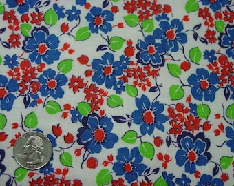 "Vintage Feedsack Fabric Bright Floral 28 x 32"" Perfect"