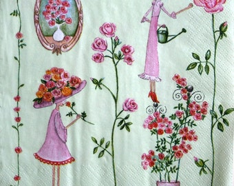 napkin for decoupage Girls and Roses Kids motive Pink Decoupage paper napkins