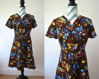 Vintage 1960s Dress Ethnic Print Brown, Blue, Purple, Yellow Boho Bohemian Textile - Fit and Flare Short Sleeve - Large - Hippie Party Dress