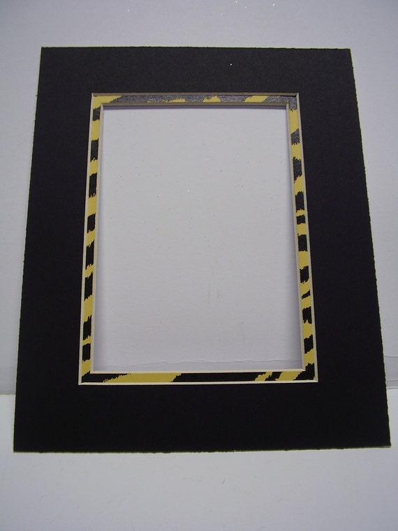 Picture Frame Mat Black With Tiger Stripe Yellow Black