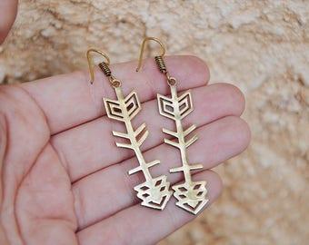 Game Of Thrones - Gold Earrings - Arrow Earrings - Dangle Earrings - Unique Earrings - Brass Earrings - Tribal Earrings - Bohemian