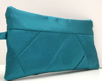 Solid Teal Retro Geometrical Pattern Patchwork Satin Clutch