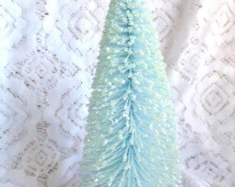 "Baby Blue, Light Blue, 10"" Inches Tall,  Crystal Silver Glitter Bottle Brush Tree, Flocked Christmas Tree, Shabby Chic, Village Pastel"