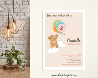 Children's Birthday Party Invitation, Boy Birthday, Girl Birthday, 1st Birthday, 2nd Birthday, 3rd Birthday, Balloons, Bear