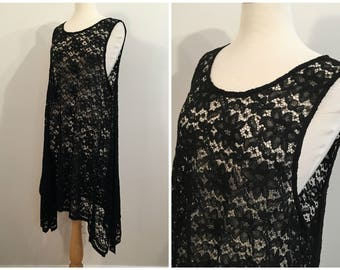 Vintage BLACK LACE DRESS/ size medium