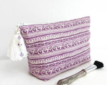 Makeup bag, Boho makeup bag, purple makeup bag, tassel,  charms, bohemian purple makeup bag, makeup bag gift, teengirl gift, girlfriend gift
