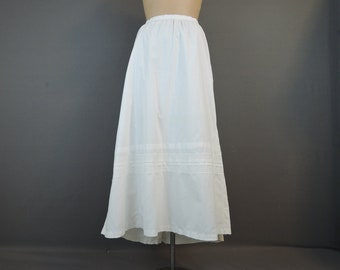 Vintage Victorian White Cotton Petticoat Slip, XL 37 inch waist 1800s, with issues