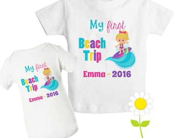 Personalized First Beach Trip T-Shirt - 1st Beach Trip Bodysuit - Custom Surfing T-Shirt for Kids - Beach Surfer Shirt or Bodysuit for Girls