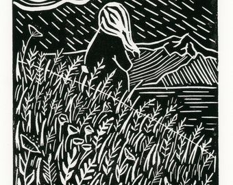 Windy Day Linocut Print