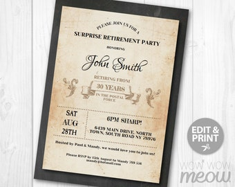 Surprise Retirement Invitation Retired Invite INSTANT DOWNLOAD Printable Chalk Rustic Retiring AFTER Any Years EditableCelebration Dinner