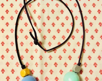 Hand painted colorful wooden beads leather necklace