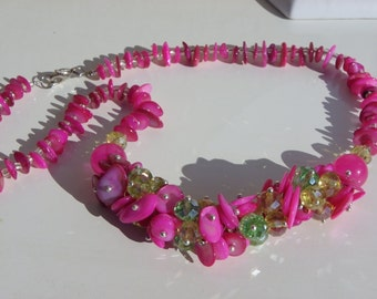 fuschia pink Crystal and shell necklace