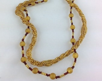 Vintage Beaded Necklace Double Stranded Gold Rope Twist and Amber Coloured Beads Brass fastening Costume Jewellery