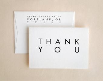 Thank You Cards Bulk - Wedding - Mid Century Modern Style - Mini Utility