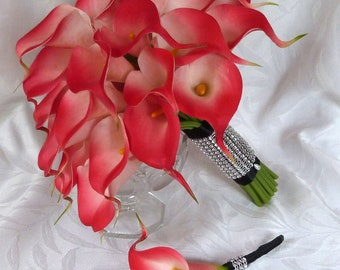 Red Calla lily wedding bouquet simple elegant Real touch mini red calla lily bridal bouquet