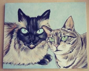 Multiple Pet Portrait Painting 16x20 handpainted, pet memorial, Custom, dog, cat