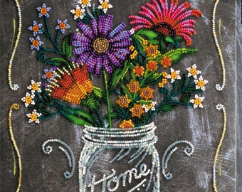 Bead embroidery kit, Welcome home, Needlepoint kit, 23x30 cm, embroidery kit or ready embroidered picture upon request