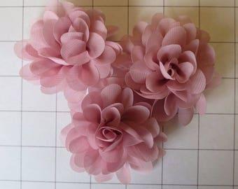 "Set of 3 2.75"" Dusty Pink Chiffon Flowers Embellishments Dance Costumes! (I-40)"