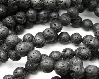 38 Black 10 mm black lava stones