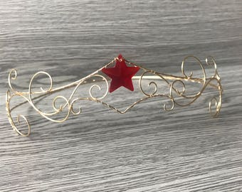 Red star tiara-gold wonder women inspired
