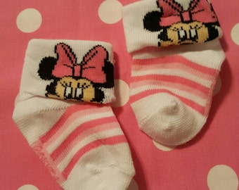 Minnie Mouse Stripe Footies