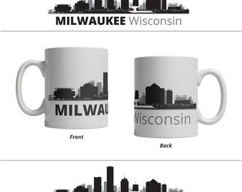 Milwaukee WI Skyline Mug - Personalized Custom Text Ceramic Coffee Cup Tea, 11 oz - Wisconsin