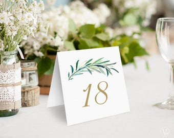 Greenery Wedding Table Numbers 1–40, Wedding Table Numbers Template - DOWNLOAD Instantly, 5x5 Foldover, Tented, Eucalyptus Gold
