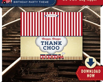 Train Treat Bag Topper | Printable Candy Bag Toppers | Labels for Birthday Party Favor Bags | Instant Download