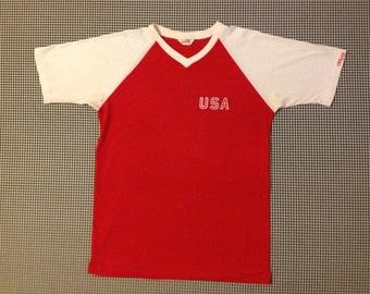 1980's, red and white, USA, raglan, athletic t-shirt, Men's size Medium, Women's size Large