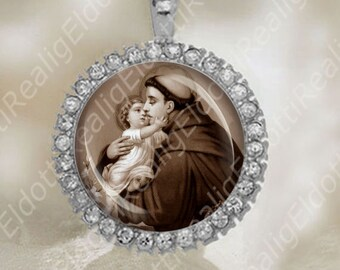St. Anthony and Baby Jesus in Sepia Color Medal Catholic Religious Silver Tone NEW