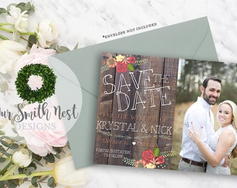 Save the Date / Rustic Love Card DIY PRINTABLE Customizable Digital Print