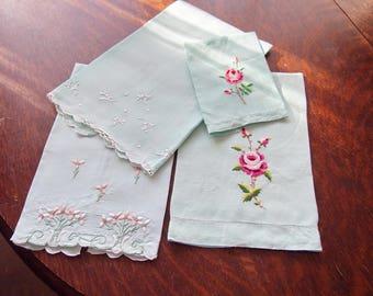 4  Madrid Linen Embroidered Hand Towels Aqua
