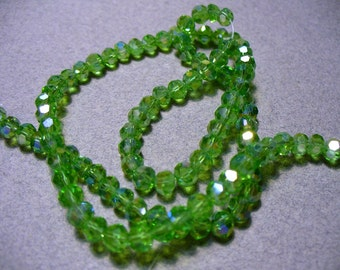 Crystal Beads Green AB Faceted Rondelle 4x3mm
