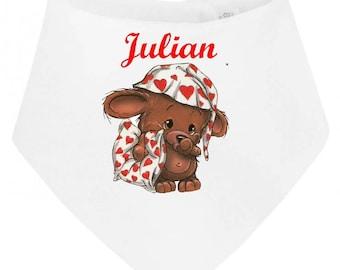 Personalized with name Teddy bear baby bandana bib